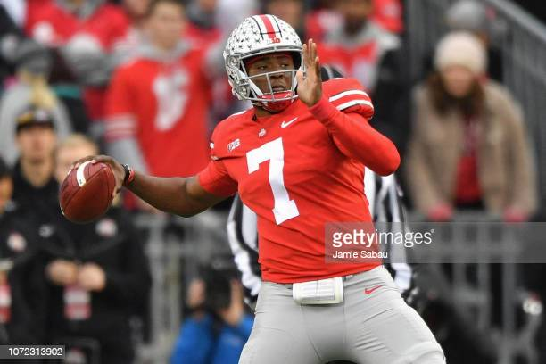 Quarterback Dwayne Haskins of the Ohio State Buckeyes passes against the Michigan Wolverines at Ohio Stadium on November 24 2018 in Columbus Ohio...