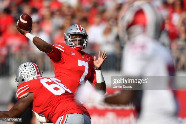 Quarterback Dwayne Haskins of the Ohio State Buckeyes throws a 39yard touchdown pass in the second quarter against the Indiana Hoosiers at Ohio...