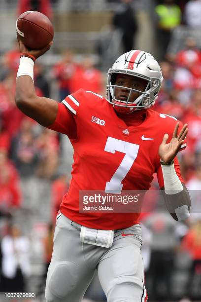 Quarterback Dwayne Haskins of the Ohio State Buckeyes throws a first quarter touchdown pass against the Tulane Green Wave at Ohio Stadium on...