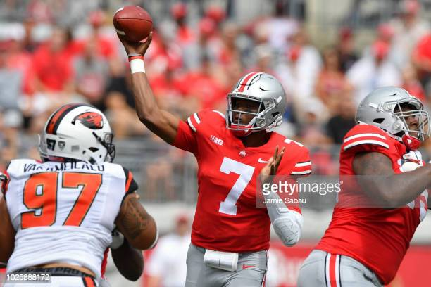 Quarterback Dwayne Haskins of the Ohio State Buckeyes throws a pass in the first quarter against the Oregon State Beavers at Ohio Stadium on...