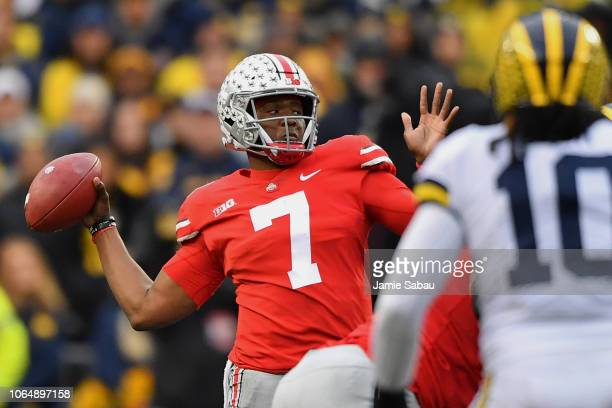 Quarterback Dwayne Haskins of the Ohio State Buckeyes throws in the third quarter against the Michigan Wolverines at Ohio Stadium on November 24 2018...
