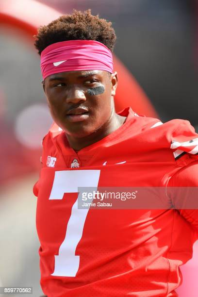 Quarterback Dwayne Haskins of the Ohio State Buckeyes warms up before a game against the Maryland Terrapins at Ohio Stadium on October 7 2017 in...