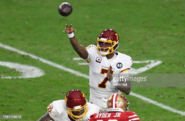 Quarterback Dwayne Haskins of the Washington Football Team delivers a pass against the San Francisco 49ers in the third quarter of the game at State...