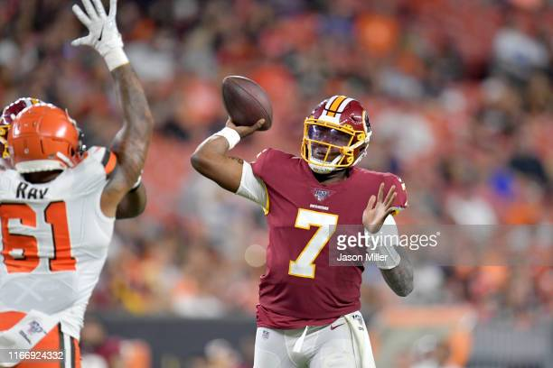 Quarterback Dwayne Haskins of the Washington Redskins passes during the second half of a preseason game against the Cleveland Browns at FirstEnergy...