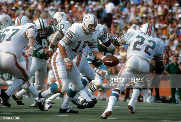 Quarterback Earl Morrall of the Miami Dolphins turns to hand the ball off to Mercury Morris against the New York Jets during an NFL football game at...