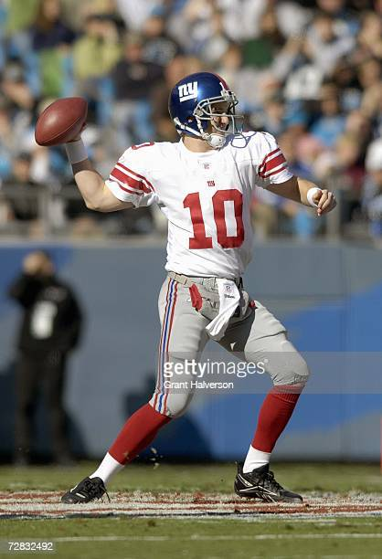 Quarterback Eli Manning of the New York Giants passes the ball during the game against the Carolina Panthers on December 10 at Bank of America...