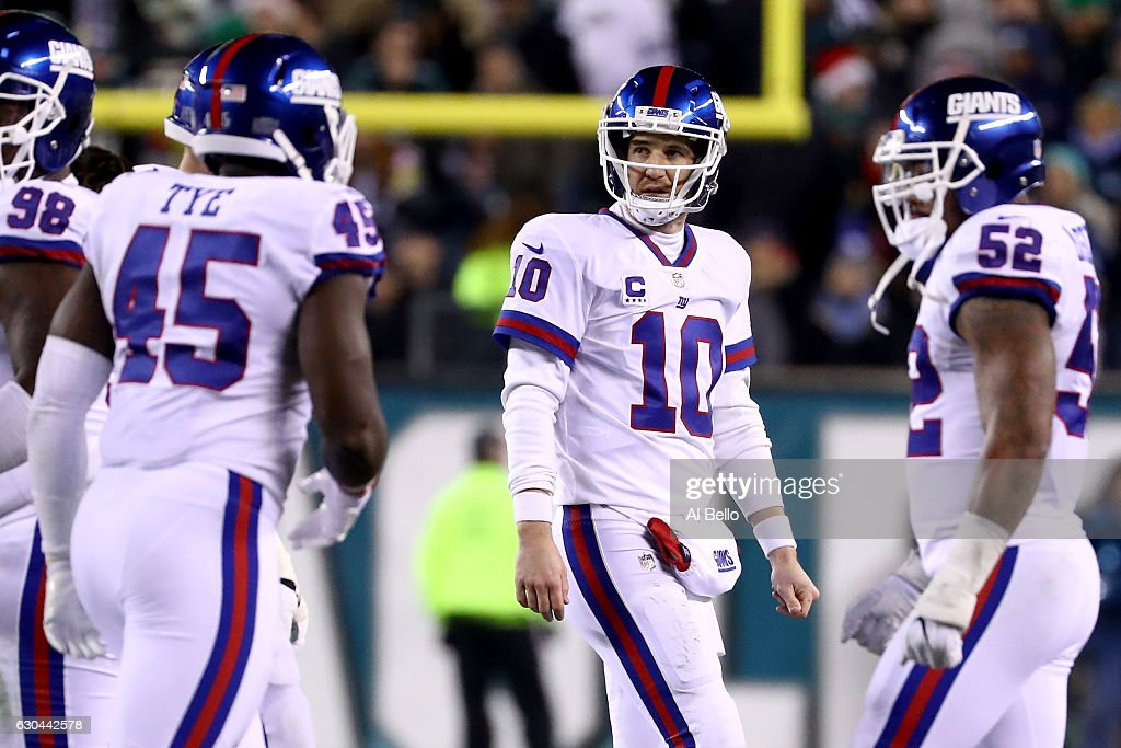 Quarterback Eli Manning #10 of the New York Giants reacts after throwing an interception to Defensive back Terrence Brooks #29 of the Philadelphia Eagles intended for tight end Will Tye #45 during the fourth quarter of the game at Lincoln Financial Field on December 22, 2016 in Philadelphia, Pennsylvania.