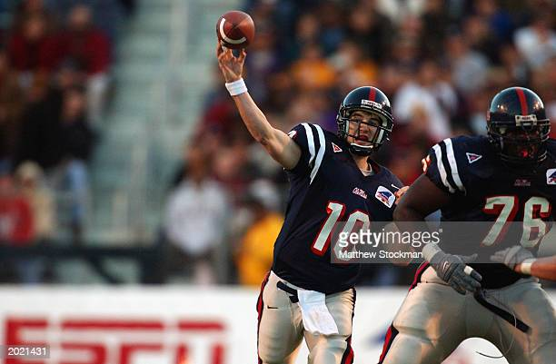 Quarterback Eli Manning of the University of Mississippi Ole Miss Rebels throws a pass during the MainStay Independence Bowl against the University...