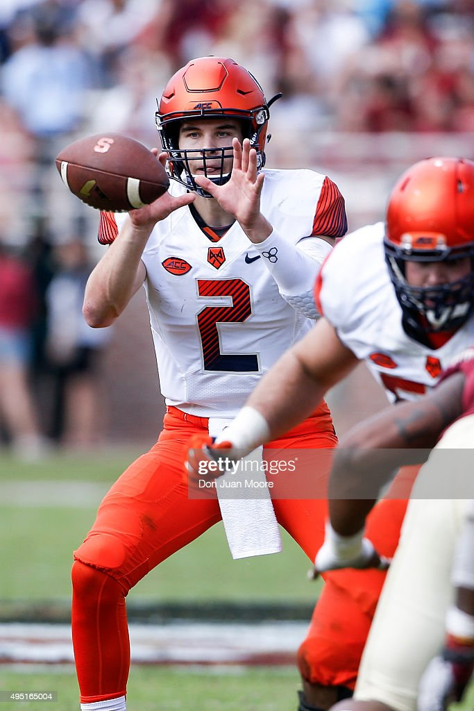 Quarterback Eric Dungey #2 of the Syracuse Orange on a pass play during the game against the Florida State Seminoles at Doak Campbell Stadium on Bobby Bowden Field on October 31, 2015 in Tallahassee, Florida. Florida State defeated Syracuse 45 to 21.