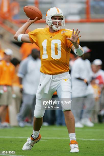 Quarterback Erik Ainge of the Tennessee Volunteers practices passing before facing the Alabama Crimson Tide during the game at Neyland Stadium on...