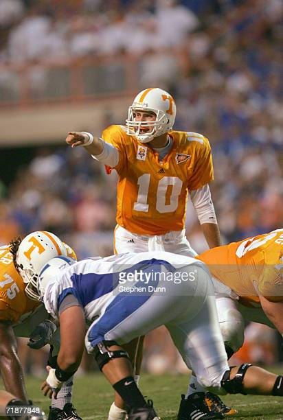 Quarterback Erik Ainge of the University of Tennessee Volunteers at the line of scrimmage during the game against the Air Force Academy Falcons on...