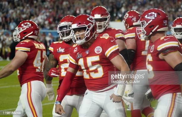 Quarterback for the Kansas City Chiefs Patrick Mahomes celebrates his touchdown during Super Bowl LIV between the Kansas City Chiefs and the San...
