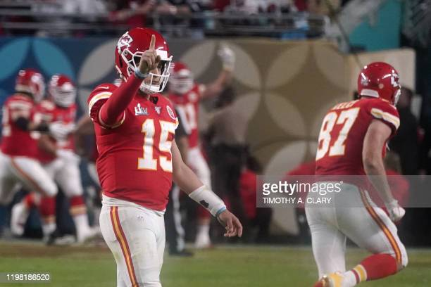 Quarterback for the Kansas City Chiefs Patrick Mahomes celebrates after winning Super Bowl LIV between the Kansas City Chiefs and the San Francisco...