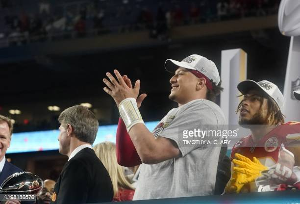 Quarterback for the Kansas City Chiefs Patrick Mahomes cheers after winning Super Bowl LIV between the Kansas City Chiefs and the San Francisco 49ers...
