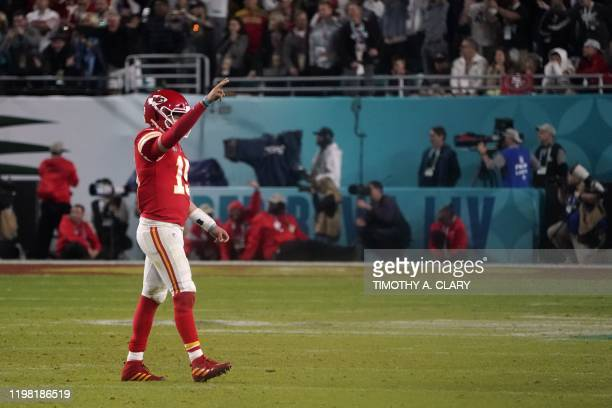 Quarterback for the Kansas City Chiefs Patrick Mahomes gestures during Super Bowl LIV between the Kansas City Chiefs and the San Francisco 49ers at...