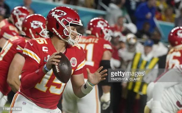 Quarterback for the Kansas City Chiefs Patrick Mahomes gets ready to throw the ball during Super Bowl LIV between the Kansas City Chiefs and the San...