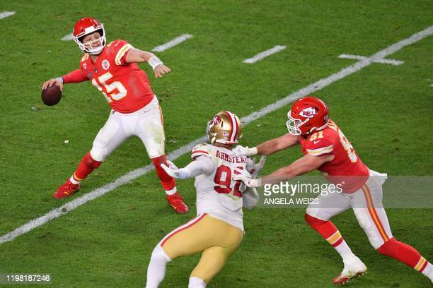 Quarterback for the Kansas City Chiefs Patrick Mahomes passes the ball during Super Bowl LIV between the Kansas City Chiefs and the San Francisco...