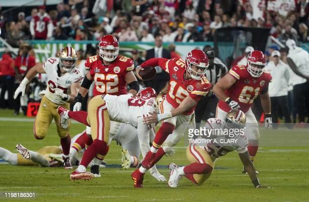 Quarterback for the Kansas City Chiefs Patrick Mahomes runs the ball during Super Bowl LIV between the Kansas City Chiefs and the San Francisco 49ers...