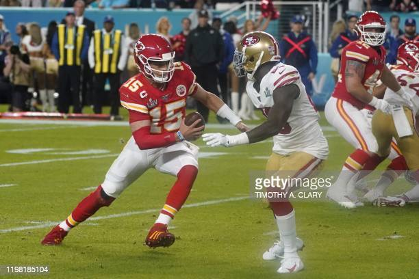 Quarterback for the Kansas City Chiefs Patrick Mahomes runs to score a touchdown during Super Bowl LIV between the Kansas City Chiefs and the San...