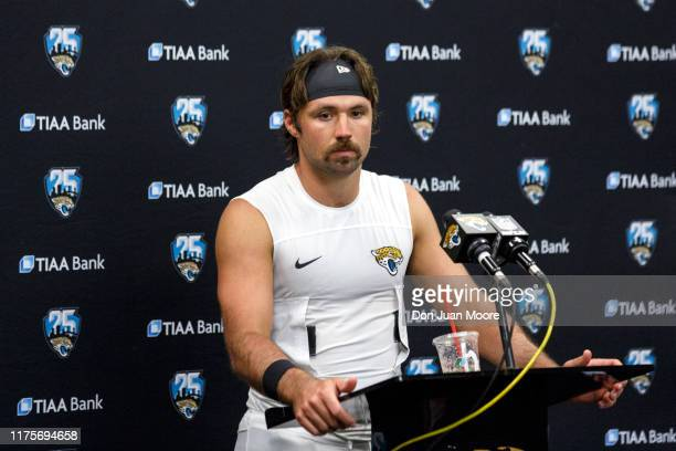 Quarterback Gardner Minshew II of the Jacksonville Jaguars answers questions from the media at the news conference following the game against the New...