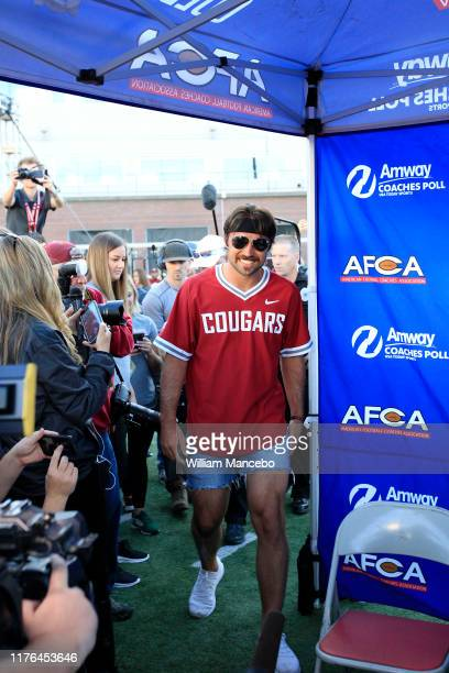 Quarterback Gardner Minshew II of the Jacksonville Jaguars enters a tent for an interview while returning to his alma mater prior to the game between...