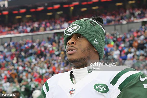 Quarterback Geno Smith of the New York Jets follows the action against the Buffalo Bills at Ralph Wilson Stadium on January 3 2016 in Orchard Park...