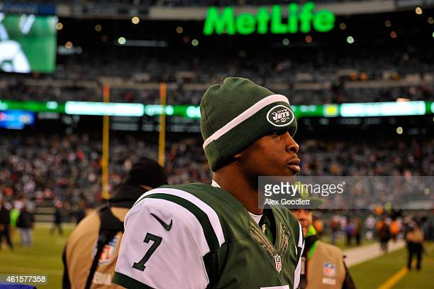 Quarterback Geno Smith of the New York Jets looks on against the New England Patriots during a game at MetLife Stadium on December 21 2014 in East...