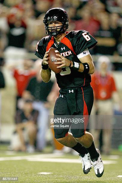 Quarterback Graham Harrell of the Texas Tech Red Raiders drops back to pass the ball during the game against the Texas Longhorns on November 1, 2008...