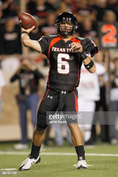 Quarterback Graham Harrell of the Texas Tech Red Raiders looks to pass the ball down the field during the game against the Texas Longhorns on...