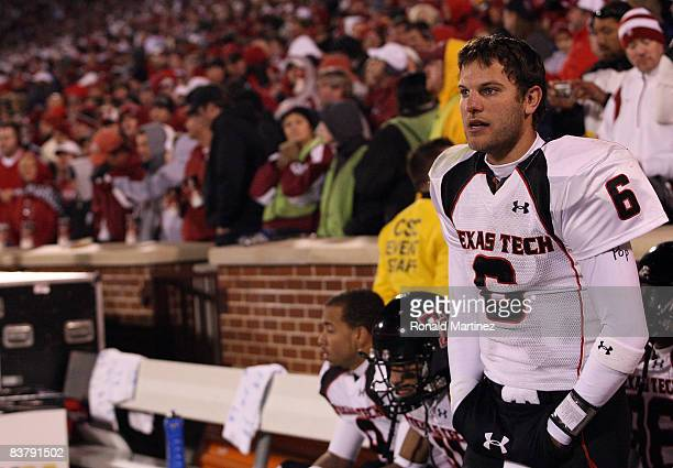 Quarterback Graham Harrell of the Texas Tech Red Raiders on the sidelines during play against the Oklahoma Sooners in the fourth quarter at Memorial...