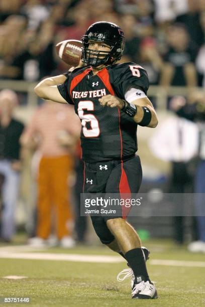 Quarterback Graham Harrell of the Texas Tech Red Raiders passes the ball during the game against the Texas Longhorns on November 1, 2008 at Jones...