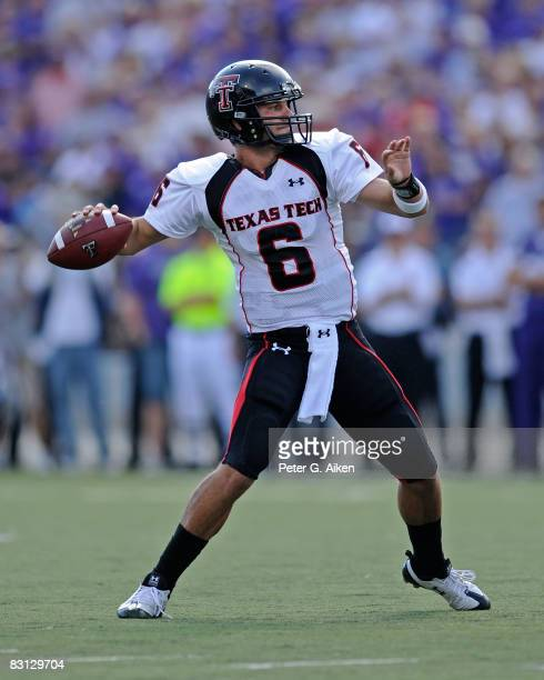 Quarterback Graham Harrell of the Texas Tech Red Raiders throws the ball down field in the second half against the Kansas State Wildcats on October 4...
