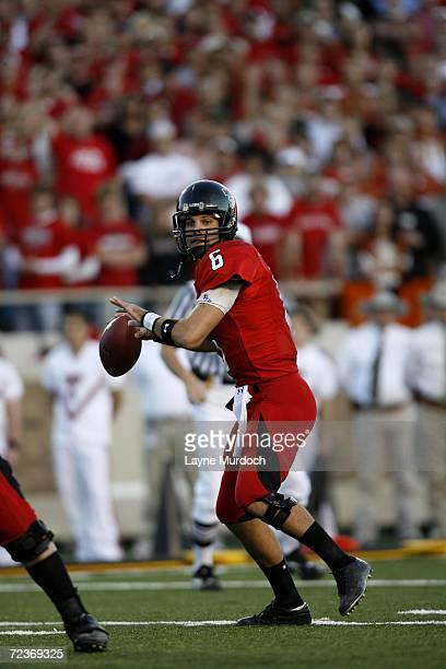 Quarterback Graham Harrell of the Texas Tech University Red Raiders passes the ball against the University of Texas at Austin Longhorns during the...