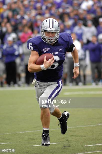 Quarterback Grant Gregory of the Kansas State Wildcats scrambles to the outside during a game against the Missouri Tigers on November 14, 2009 at...