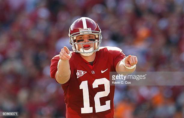 Quarterback Greg McElroy of the Alabama Crimson Tide against the Tennessee Volunteers at BryantDenny Stadium on October 24 2009 in Tuscaloosa Alabama