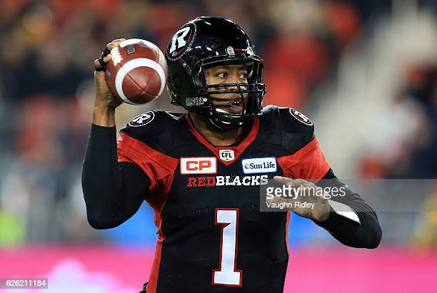 Quarterback Henry Burris of the Ottawa Redblacks throws a pass during the second half of the 104th Grey Cup Championship Game against the Calgary...