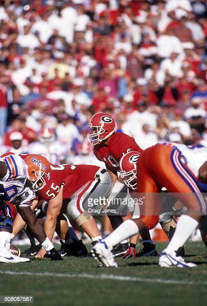 Quarterback Hines Ward of the Georgia Bulldogs gets ready to take the snap during the game against the Florida Gators on October 28 1995 at Sanford...