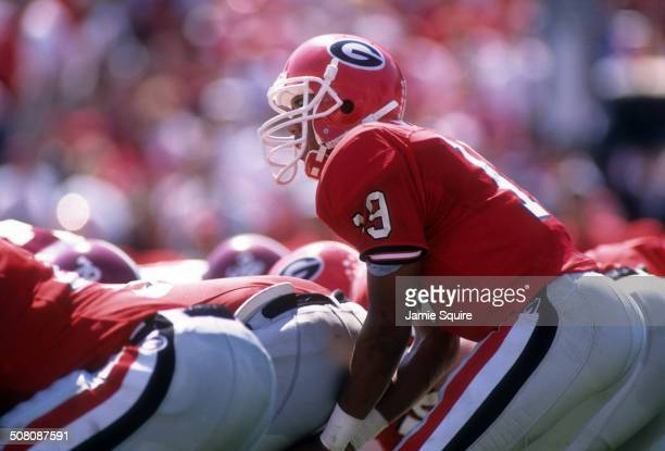 Quarterback Hines Ward of the Georgia Bulldogs gets ready to take the snap against the Alabama Crimson Tide on September 30 1995 at Sanford Stadium...