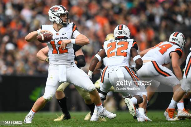 Quarterback Jack Colletto of the Oregon State Beavers passes against the Colorado Buffaloes in the first quarter of a game at Folsom Field on October...