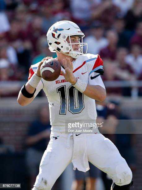 Quarterback Jack McDaniels of the Delaware State Hornets on a pass play during the game against the Florida State Seminoles at Doak Campbell Stadium...