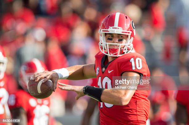 Quarterback Jacob Eason of the Georgia Bulldogs prior to their game against the Appalachian State Mountaineers at Sanford Stadium on September 2 2017...