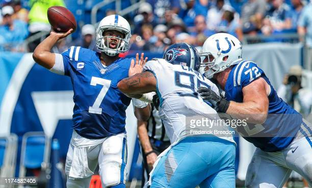 Quarterback Jacoby Brissett of the Indianapolis Colts throws a pass against the Tennessee Titans at Nissan Stadium on September 15 2019 in Nashville...