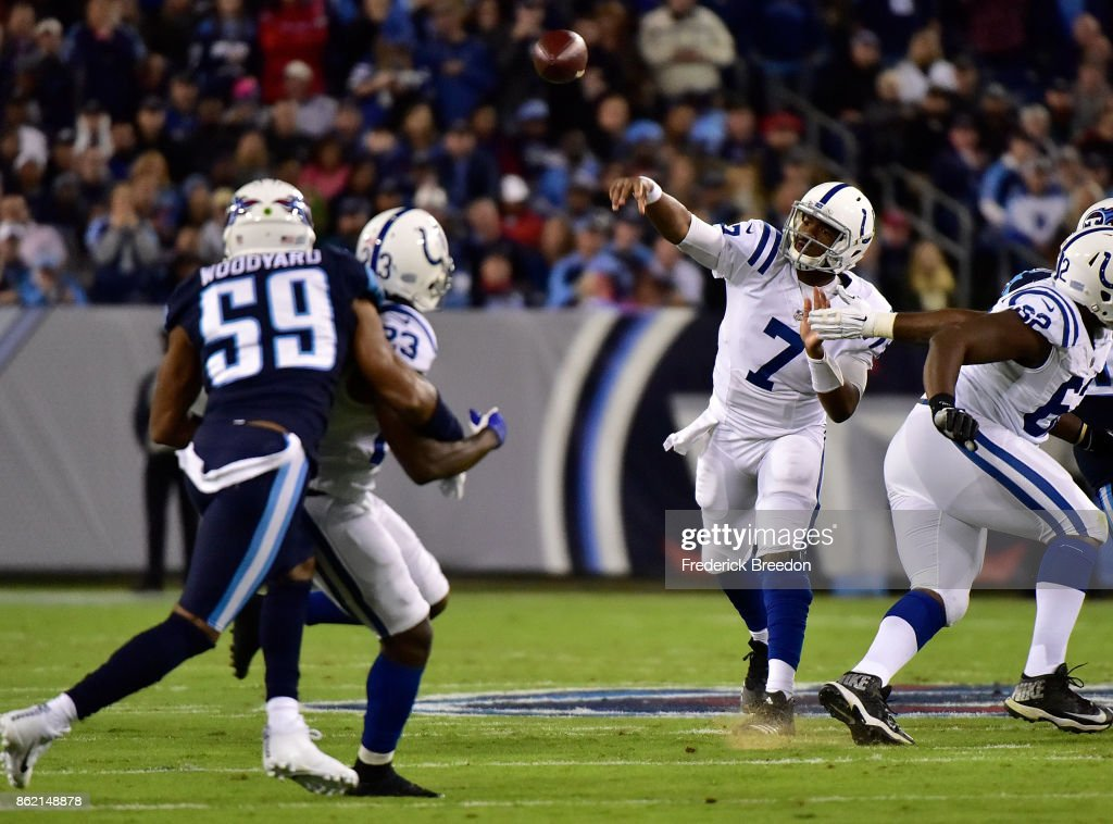 Quarterback Jacoby Brissett #7 of the Indianapolis Colts throws a pass against the Tennessee Titans during the first half at Nissan Stadium on October 16, 2017 in Nashville, Tennessee.
