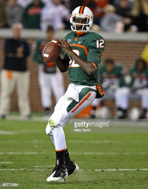 Quarterback Jacory Harris of the Miami Hurricanes drops back to pass during the game against the Georgia Tech Yellow Jackets at Bobby Dodd Stadium at...