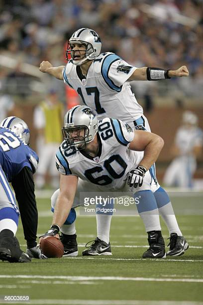 Quarterback Jake Delhomme of the Carolina Panthers calls the count as center Jeff Mitchell gets ready to snap the ball during the NFL game against...