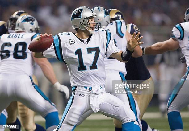 Quarterback Jake Delhomme of the Carolina Panthers drops back to pass againsts the St Louis Rams during the NFL game on September 9 2007 at the...