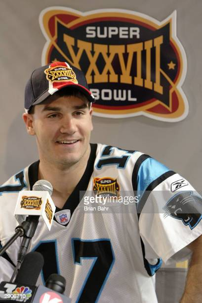 Quarterback Jake Delhomme of the Carolina Panthers listens to a question on media day January 27, 2003 at the Reliant Stadium before Super Bowl...