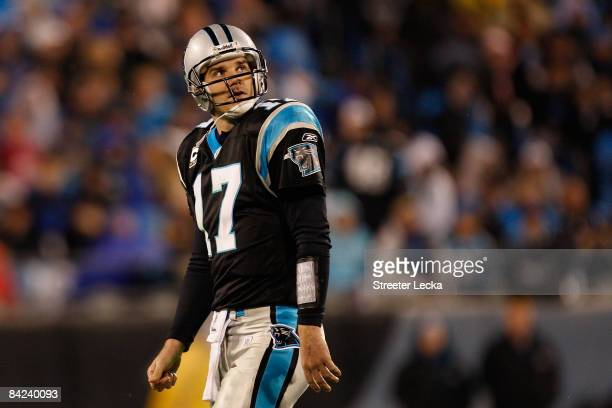 Quarterback Jake Delhomme of the Carolina Panthers looks on during the game against the Arizona Cardinals during the NFC Divisional Playoff Game on...