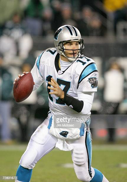 Quarterback Jake Delhomme of the Carolina Panthers looks to pass during the game against the Philadelphia Eagles at Lincoln Financial Field on...