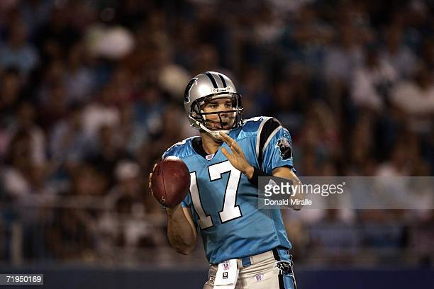 Quarterback Jake Delhomme of the Carolina Panthers passes the ball during the preseason game against the Miami Dolphins at Bank of America Stadium in...